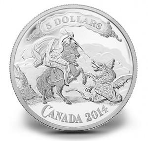 2014 $5 Saint George Slaying Dragon Silver Coin