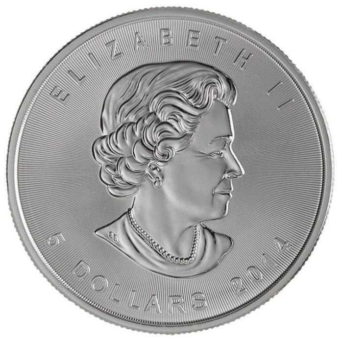 2014 $5 Silver Maple Leaf Bullion Coin - Obverse