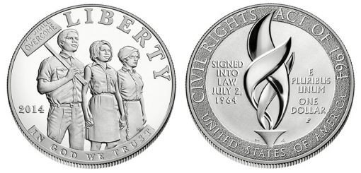 2014 Proof Civil Rights Act of 1964 Silver Dollar - Obverse and Reverse