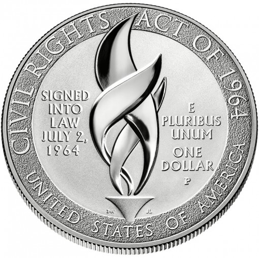2014 Proof Civil Rights Act of 1964 Silver Dollar - Reverse