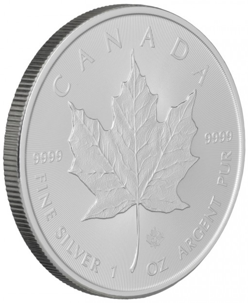 2014 Silver Maple Leaf Bullion Coin - Angled View