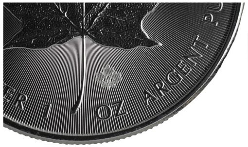 2014 Silver Maple Leaf Bullion Coin - Closeup of Radial Lines and Laser Mark