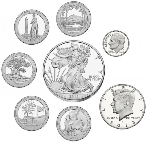 Coins in the 2013 United States Mint Limited Edition Silver Proof Set