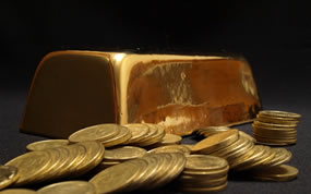 Gold bar, gold coins
