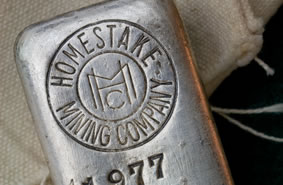 Homestake Mining Company silver bullion bar