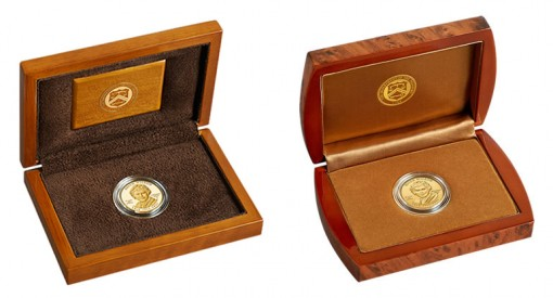 Lacquered Hardwood Presentation Cases for Proof and Uncirculated Edith Wilson First Spouse Gold Coins