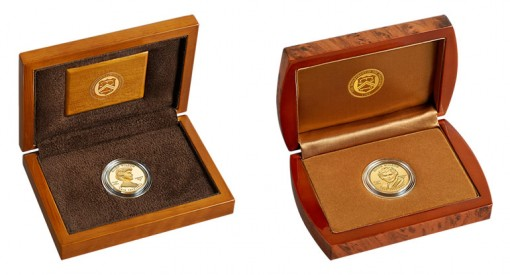Lacquered Hardwood Presentation Cases for Proof and Uncirculated Ellen Wilson First Spouse Gold Coins