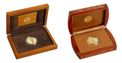 Lacquered Hardwood Presentation Cases for Proof and Uncirculated Helen Taft First Spouse Gold Coins