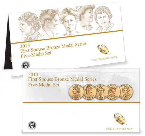 Packaging for the 2013 First Spouse Bronze Five-Medal Set