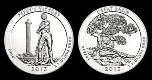 Perry's Victory and Great Basin 5 Oz Silver Bullion Coins