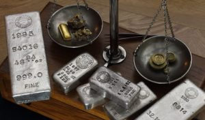 Silver bullion bars, gold bullion bars, scales