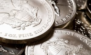 Stacks of American Eagle silver bullion coins