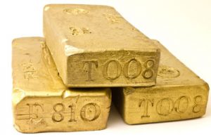 Three bullion gold bars
