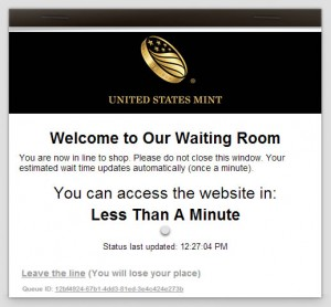 United States Mint Website Waiting Room Option