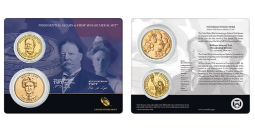 William Howard Taft $1 Coin and Helen Taft First Spouse Medal Set