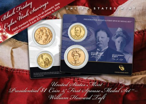 William Taft Presidential $1 Coin & Helen Taft Medal Set