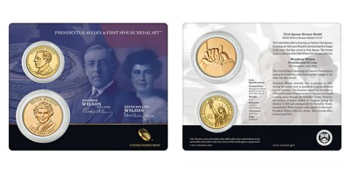 Woodrow Wilson $1 Coin and Edith Wilson First Spouse Medal Set