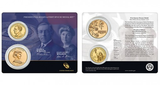Woodrow Wilson $1 Coin and Ellen Wilson First Spouse Medal Set