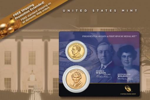 Woodrow Wilson Presidential $1 Coin and Edith Wilson Medal Set