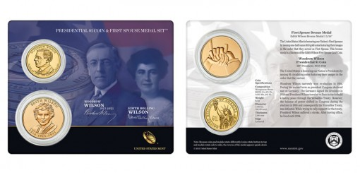 Woodrow Wilson Presidential $1 Coin and Edith Wilson Medal Set (Front and Back)