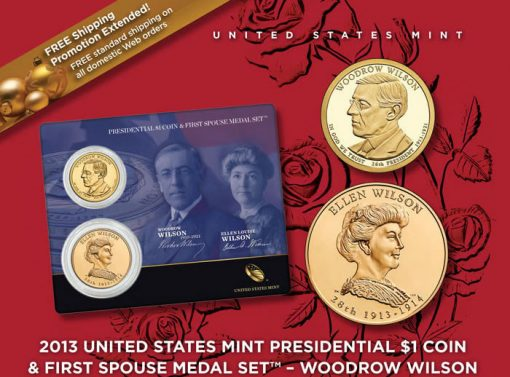 Woodrow Wilson Presidential $1 Coin and Ellen Wilson Medal Set