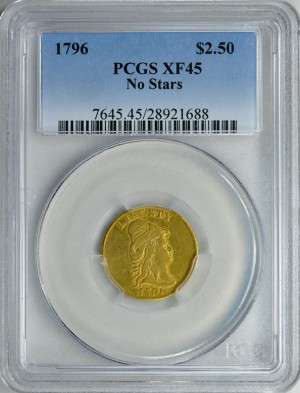 1796 Capped Bust Right Gold Quarter Eagle No Stars PCGS XF-45
