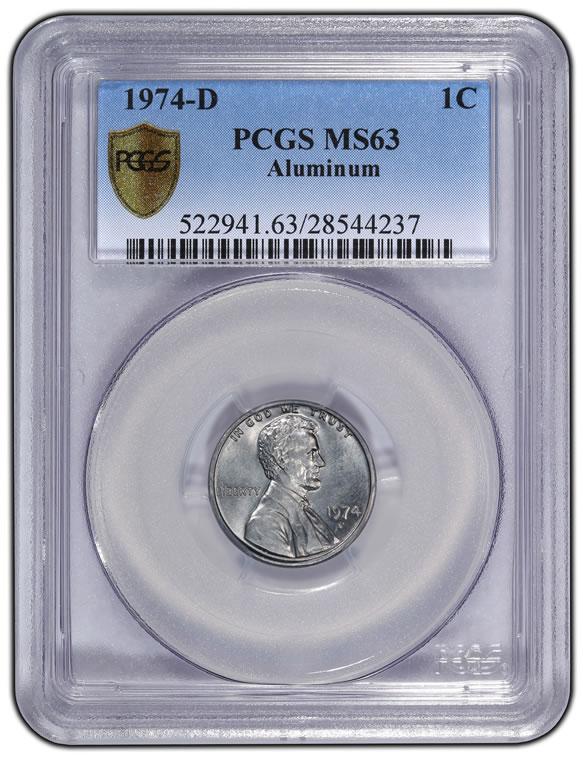 1974-D aluminum Lincoln cent, graded PCGS MS63