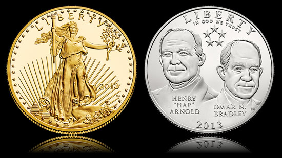 2013-W $50 Proof Gold Eagle and 2013-D Uncirculated 5-Star Generals 50c