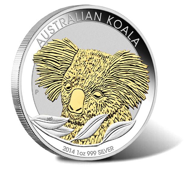 2014 Australian Koala 1 oz Gilded Silver Coin