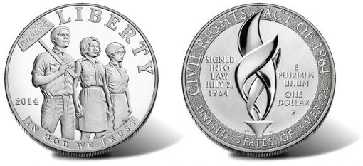 2014-P Proof Civil Rights Act of 1964 Silver Dollar