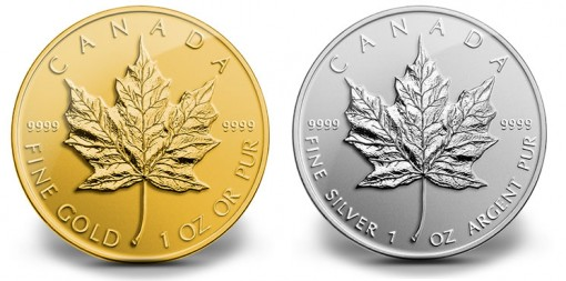 2014 Reverse Proof Canadian Maple Leaf Gold and Silver Coins