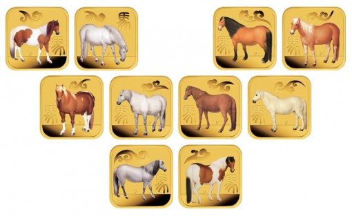 2014 Year of the Horse 1-10 oz Gold Square Ten-Coin Collection