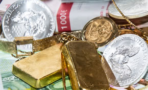American Eagle silver coins, bullion gold bars, money