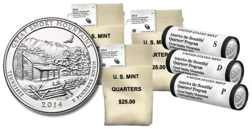 Bags and Rolls of 2014 Great Smoky Mountains Quarters