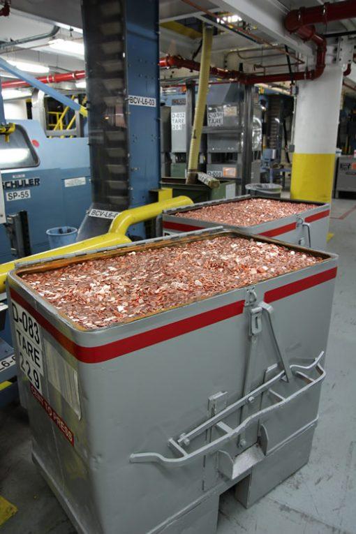 Bins of Lincoln Cent Planchets, Denver Mint