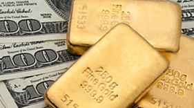 Bullion gold bars and US $100s.