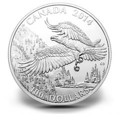 Canadian 2014 $100 Bald Eagle Silver Coin for $100