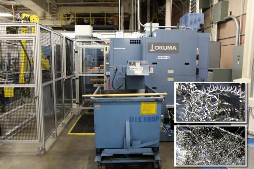 Denver Mint's Shaping CNC Lathe and Metal Die Shavings