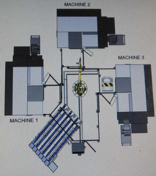Diagram of Dener Mint's Three-Lathe Cell (Die Shop)