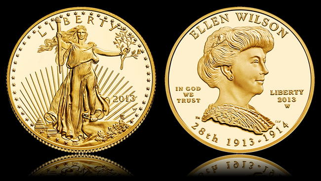 Gold Eagle and Wilson First Spouse Gold Coin