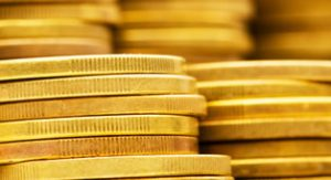 Gold coins laying flat