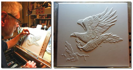 John M. Mercanti and sculpt of Australian Wedge-Tailed Eagle