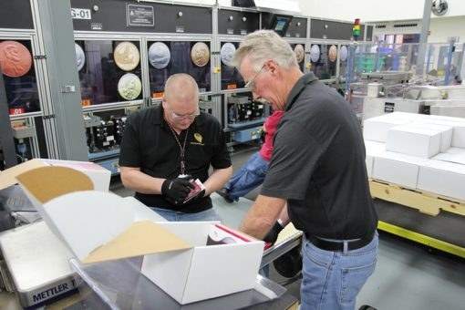 Nathan Wittstruck and Bob Luethje Inspecting Denver Mint Uncirculated Coin Sets