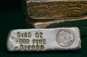 Silver bullion, three 999 fine bars