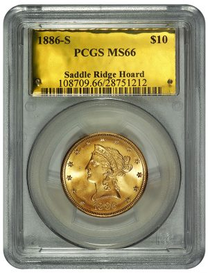 1886-S $10 PCGS MS66, Saddle Saddle Ridge Hoard