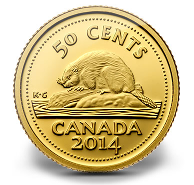 2014 50c Proof Gold Beaver Coin