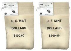 2014 P and D Warren G. Harding Presidential $1 Coins in Bags