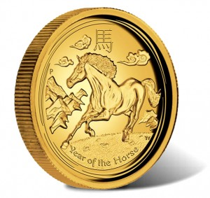 2014 Proof Year of the Horse High Relief Gold Coin