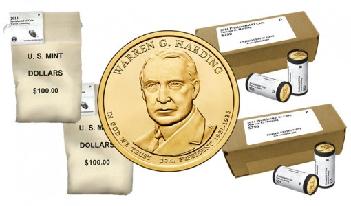 2014 Warren G. Harding Presidential $1 Coins in Rolls, Bags and Boxes