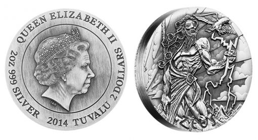 2014 Zeus High Relief 2 oz Silver Coin